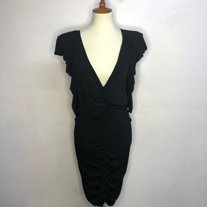 Torrid 2XL gathered slinky fitted dress black